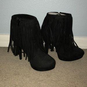 Never worn Black fringe high heel booties